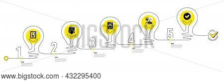 Lightbulb Journey Path Infographics. Cleaning Infographic Timeline With 5 Steps. Workflow Process Di