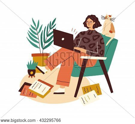 Creative Writer With Laptop And Scattered Papers Around. Female Author Working With Copies And Compu