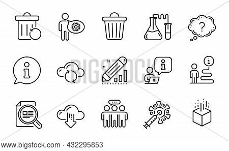Science Icons Set. Included Icon As Chemistry Lab, Check Article, Recovery Trash Signs. Cogwheel, Au