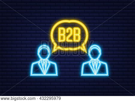 B2b Sales Person Selling Products. Neon Icon. Business-to-business Sales, B2b Sales Method. Vector I