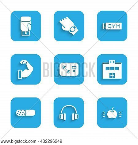 Set Fitness Club, Gym Card, Headphones, Apple, Gym Building, Vitamin Pill, Bodybuilder Muscle, Locat