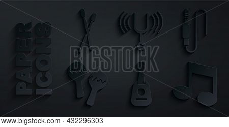 Set Guitar, Audio Jack, Maracas, Music Note, Tone, Musical Tuning Fork And Drum Sticks Icon. Vector