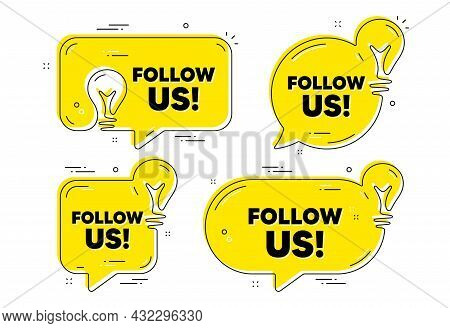 Follow Us Text. Idea Yellow Chat Bubbles. Special Offer Sign. Super Offer Symbol. Follow Us Chat Mes