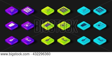 Set Guitar, Home Stereo, Drum, Stereo Speaker, Sound Mixer Controller And Triangle Icon. Vector
