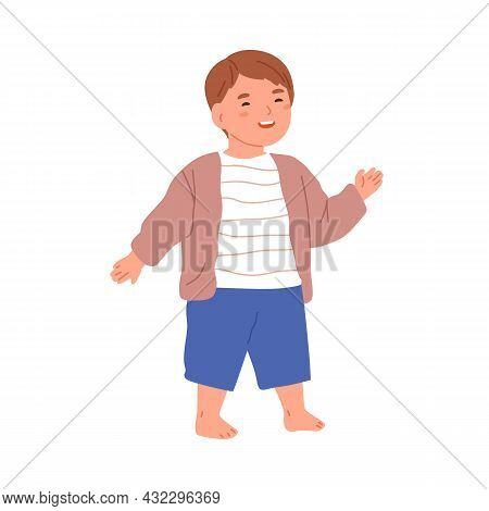 Happy Little Child Walking Barefoot. Cute Adorable Kid Smiling With Joy. Funny Joyful Lovely Boy Lau