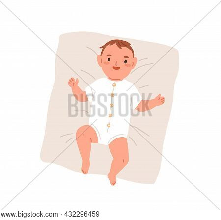 Happy Newborn Baby In Bodysuit. Top View Of Smiling Joyful Infant In Clothes. Adorable Little Boy Ly