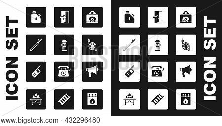 Set Interior Fireplace, Fire Hydrant, Metal Pike Pole, Canister Fuel, Hose Reel, Exit, Megaphone And