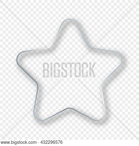 Silver Glowing Rounded Star Shape Frame With Shadow Isolated On Transparent Background. Shiny Frame