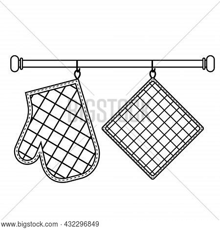 Oven Mitt And Oven Mitt Hanging On The Rack On Hooks, Black Contour Isolated Vector Illustration In