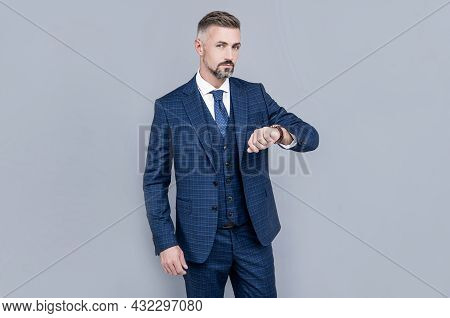 Confident Businessman Man In Businesslike Suit Watching Time, Confidence