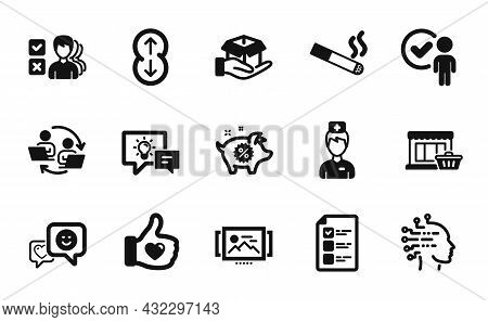 Vector Set Of Smile, Scroll Down And Artificial Intelligence Icons Simple Set. Hold Box, Doctor And