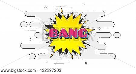 Bang Comic Cartoon Bubble Banner. Geometric Ad Banner On Flow Pattern. Discount Sticker Shape. Carto