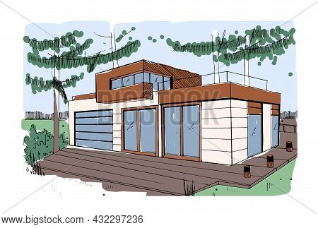 Modern House Exterior Design. Sketch Of Rural Home With Wood Terrace And Panoramic Windows. Outside