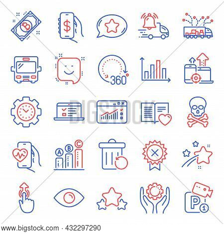 Technology Icons Set. Included Icon As Time Management, Truck Delivery, Bus Signs. Love Book, Graph