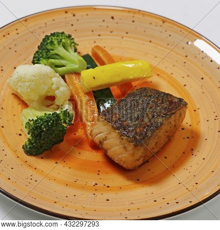 Grilled Salmon Fish With Steamed Vegetables, Includes Carrot, Cauliflower, Broccoli And Zucchini, He