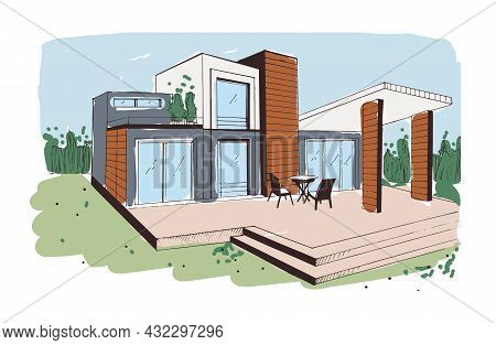 Modern House Exterior Design From Glass, Concrete And Wood. Sketch Of Home With Terrace And Panorami