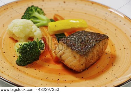 Baked Salmon Fish With Steamed Vegetables, Includes Carrot, Cauliflower, Broccoli And Zucchini, Heal
