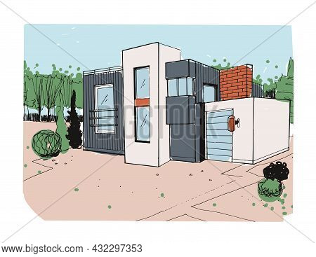 Modern House Exterior. Sketch Of Suburban Home From Glass And Concrete. Outside Of Residential Modul