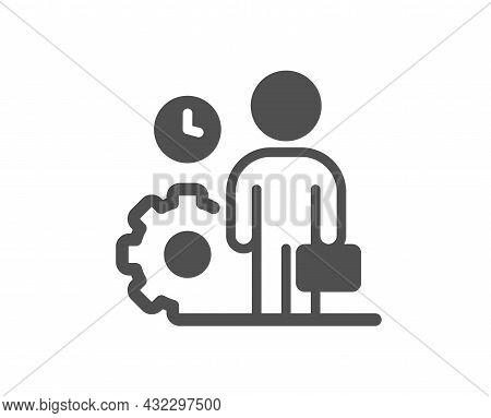 Employee Icon. Work Project Sign. Job Service Symbol. Classic Flat Style. Quality Design Element. Si
