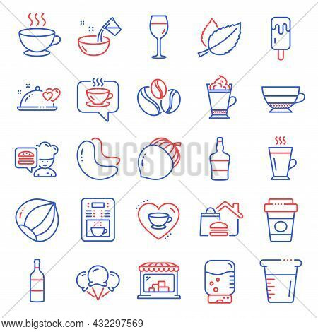 Food And Drink Icons Set. Included Icon As Water Cooler, Coffee Cup, Latte Coffee Signs. Latte, Scot