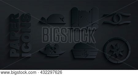 Set Sailor Hat, Rope Tied In Knot, Pirate, Compass, Treasure Map And Bandana For Head Icon. Vector