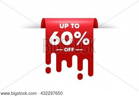 Up To 60 Percent Off Sale. Red Ribbon Tag Banner. Discount Offer Price Sign. Special Offer Symbol. S