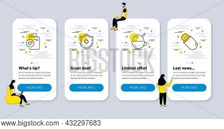 Vector Set Of Business Icons Related To Ice Cream, Medical Shield And Verification Document Icons. U
