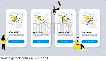 Set Of Business Icons, Such As Discount Tags, Like, Megaphone Checklist Icons. Ui Phone App Screens