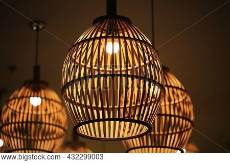 Bamboo Hanging Ceiling Lamp Close Up View
