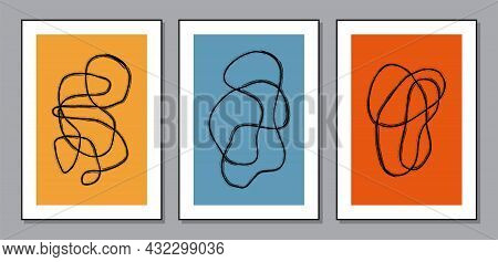 Trendy Set Of Abstract Aesthetic Minimalist Artistic Hand Drawn Compositions