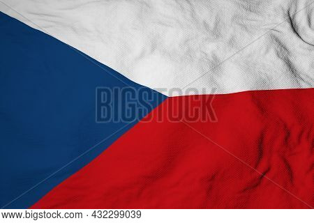 Full Frame Close-up On A Waving Czech Flag In 3d Rendering.