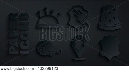 Set Leather, Thimble For Sewing, Yarn Ball, And Needle Bed And Needles Icon. Vector