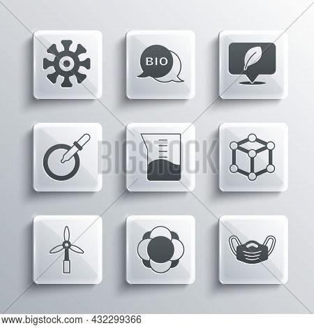 Set Molecule, Medical Protective Mask, Laboratory Glassware Or Beaker, Wind Turbine, Petri Dish With