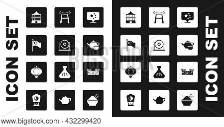 Set China Flag, Gong, Flagpole, Chinese House, Tea Ceremony, Japan Gate, Great Wall Of And Paper Lan