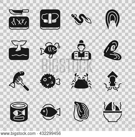 Set Shark Fin Soup, Octopus, Mussel, Eel Fish, Tropical, Whale Tail Ocean Wave, Cutting Board And Kn
