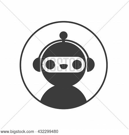 Chat Bot Robot Icon In Circle. Support Assistant Service Bot.