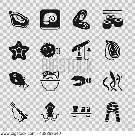 Set Fish Steak, Seaweed, Mussel, Hedgehog, Starfish, And Fishing Harpoon Icon. Vector