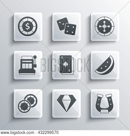 Set Diamond, Horseshoe, Casino Slot Machine With Watermelon, Playing Card Spades, Chips, Slot, And R