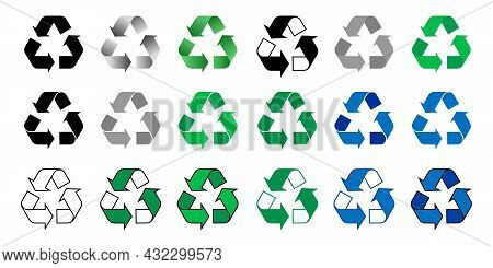 Set Of Recycling Signs, Arrow Icons Isolated On White Background. Recycle Icon Collection. Recycling