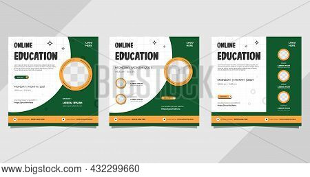 Set Of Minimalist Background With Circle Frame. Suitable For Social Media Post Template, Online Educ