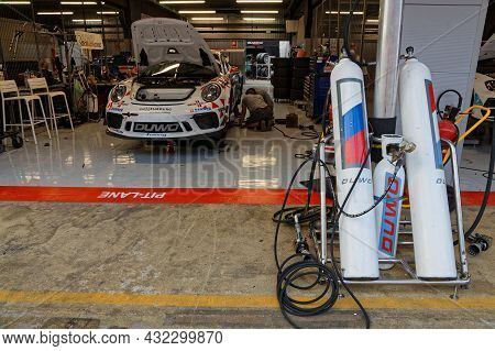 Barcelona, Spain, September 3, 2021 : In The Pits Of 24hours Series By Hancook Barcelona Race. 24h S