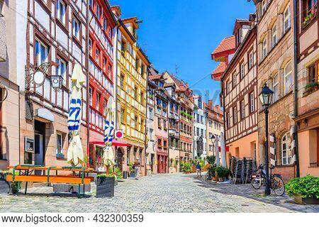 Nuremberg, Germany. Half Timbered Houses In Nuremberg´s Weissgerbergasse.