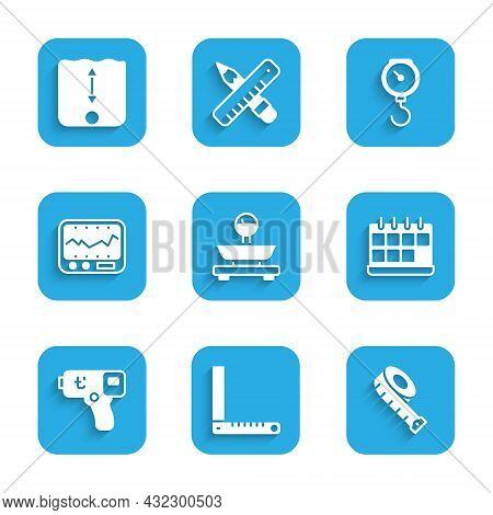 Set Scales, Corner Ruler, Measuring Tape, Calendar, Digital Thermometer, Instrument, Hand Scale Spri