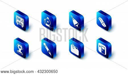 Set Ringing Alarm Bell, Eraser Or Rubber, School Classroom, Document Folder With Clip, Pencil Eraser