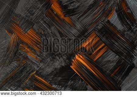 Abstract Art Background Dark Orange And Black Colors. Watercolor Painting On Canvas With Gray Stroke