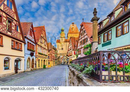Rothenburg, Germany. Medieval Town Of Rothenburg Ob Der Tauber On A Summer Morning.