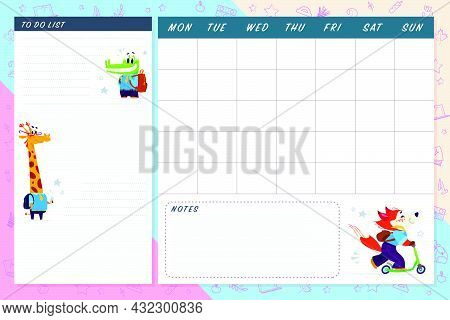 Set Of Monthly Calendar Planner Page Set Design Template For Children With Cute Animal Characters. F