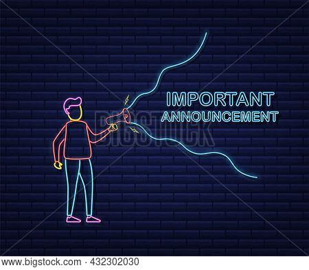 Man Holding Megaphone With Important Announcement. Megaphone Banner. Neon Style. Web Design. Vector