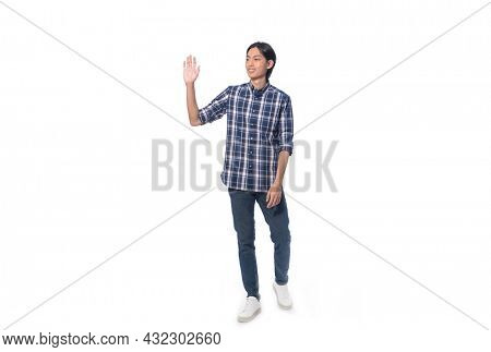 Full body portrait of young man wearing plaid with jeans with stop gesture  posing on white background,