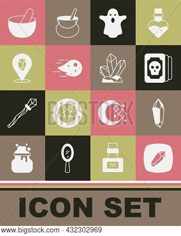 Set Magic Stone, Tarot Cards, Ghost, Fireball, Witch Cauldron And Icon. Vector